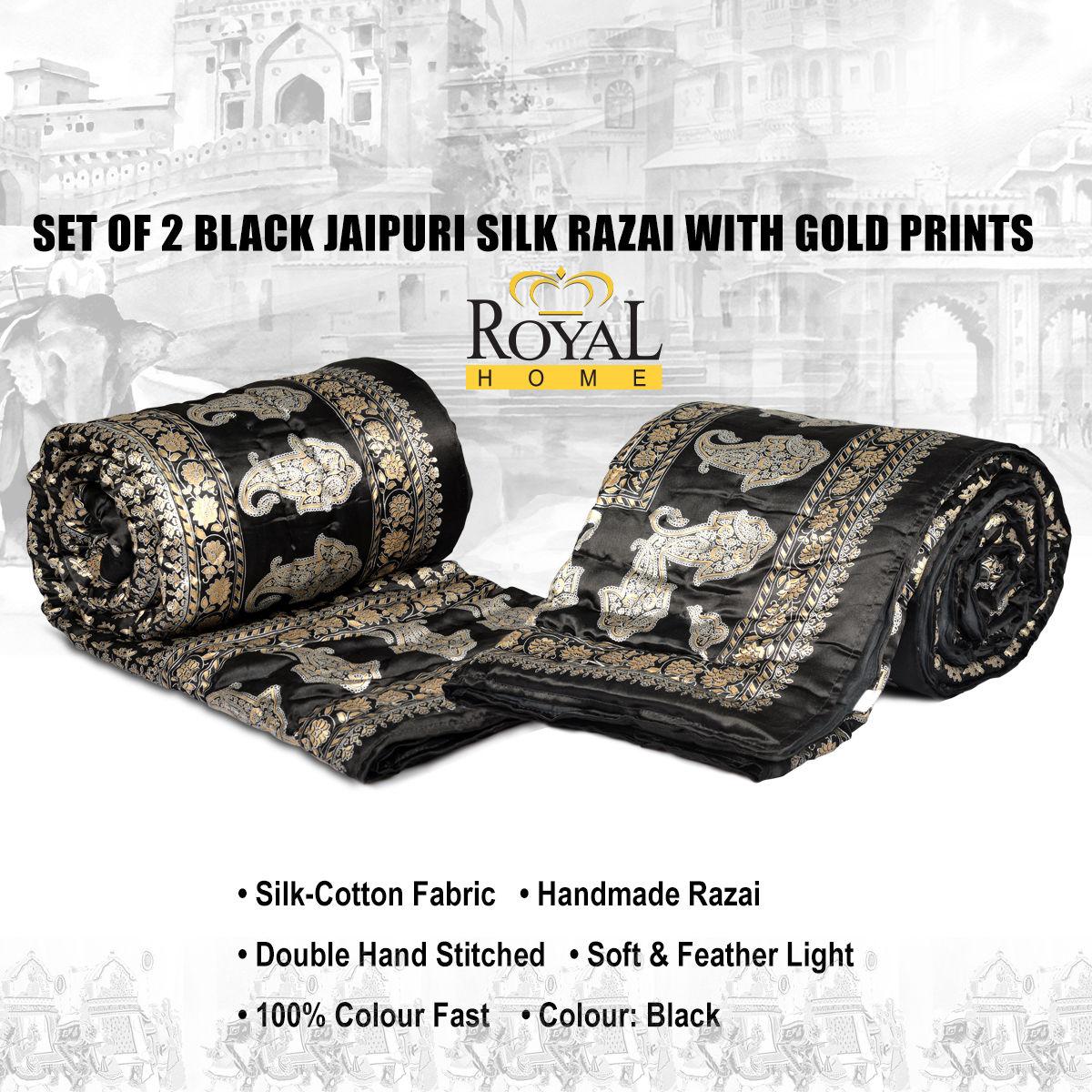 Buy Set of 2 Black Jaipuri Silk Razai with Gold Prints Online at ...