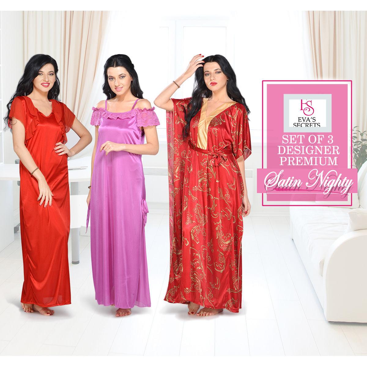 7dedcf7f4 Buy Eva s Secrets Set of 3 Designer Premium Satin Nighty Online at Best  Price in India on Naaptol.com