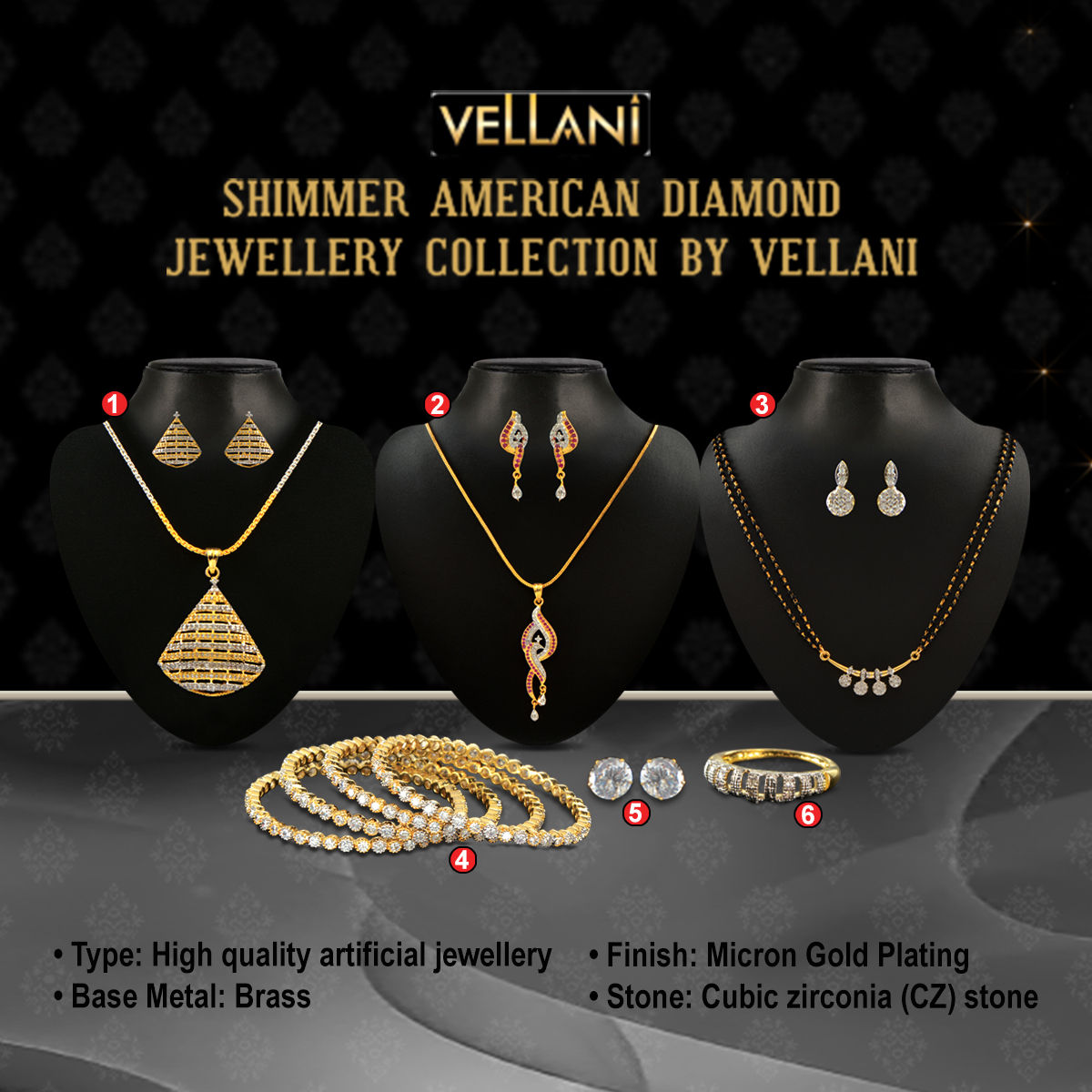 Buy Shimmer American Diamond Jewellery Collection by Vellani ...