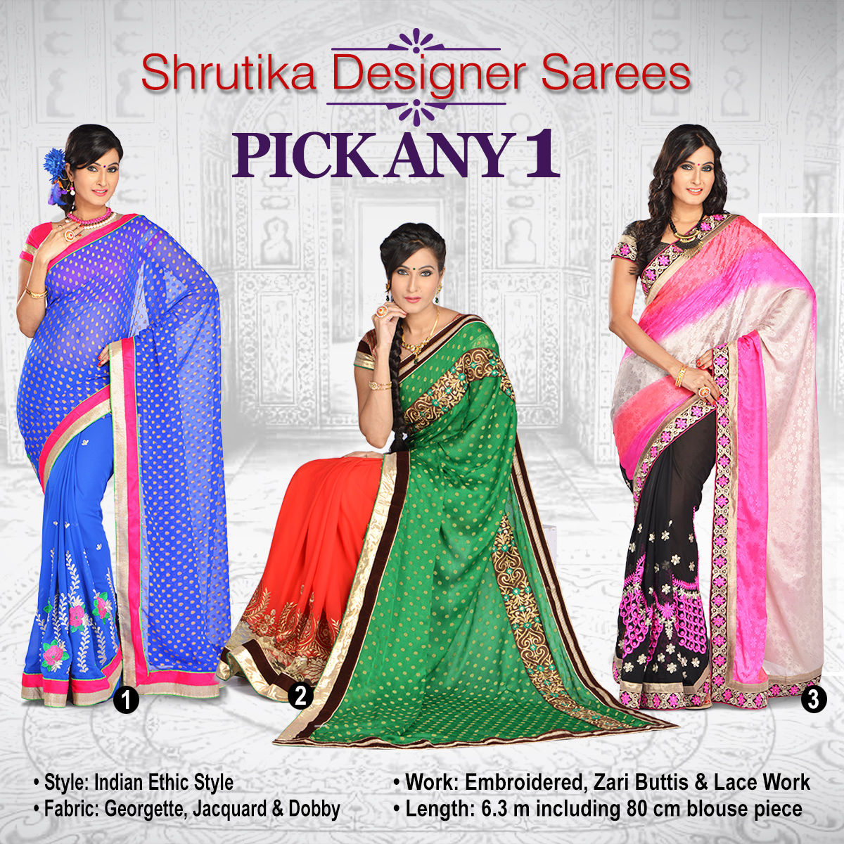 e45ef00384d Buy Shrutika Designer Saree - Pick Any 1 Online at Best Price in India on  Naaptol.com