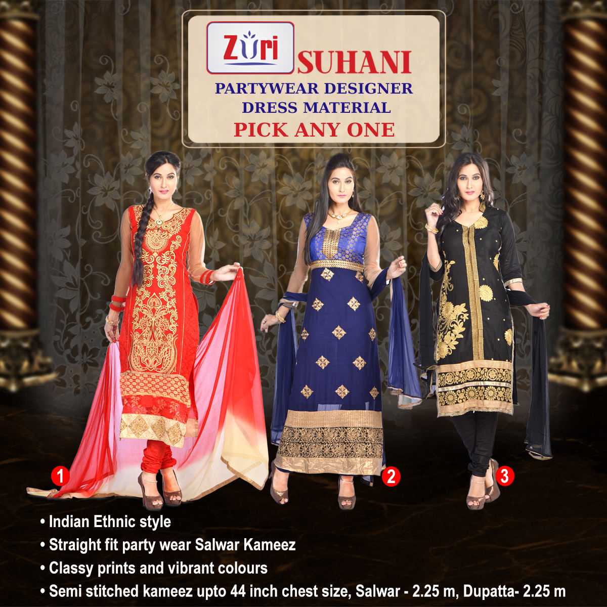 Buy Suhani Partywear Designer Dress Material By Zuri Ddm1 Pick One Any