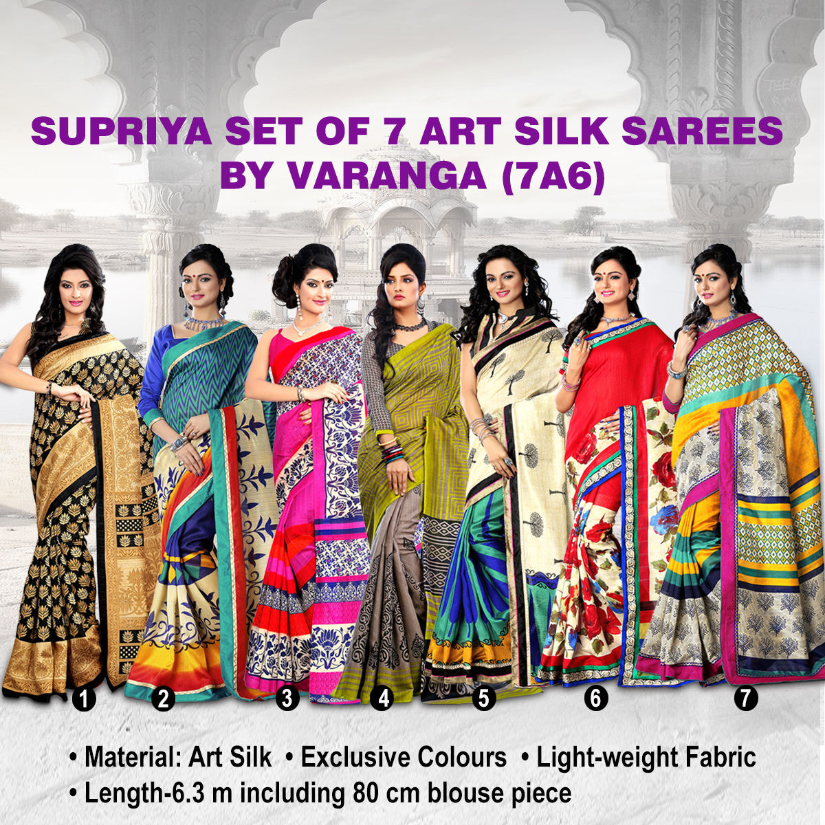 bcbbb5d71 Buy Supriya Set of 7 Art Silk Sarees by Varanga (7A6) Online at Best Price  in India on Naaptol.com