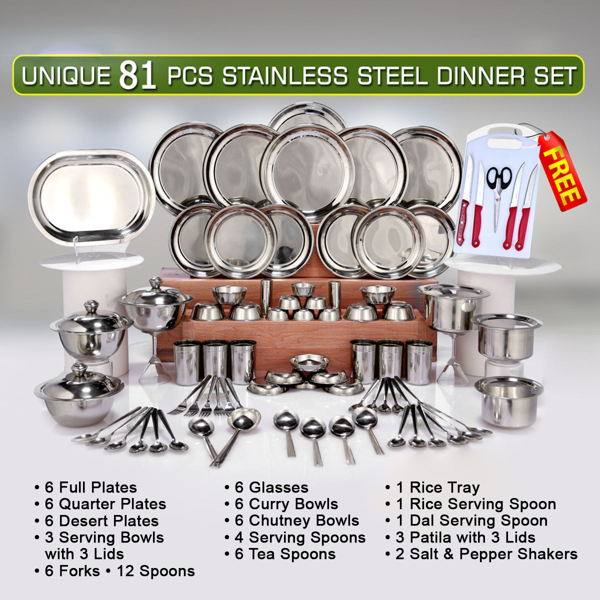 Buy Unique 81 Pcs Stainless Steel Dinner Set Free Knife Set