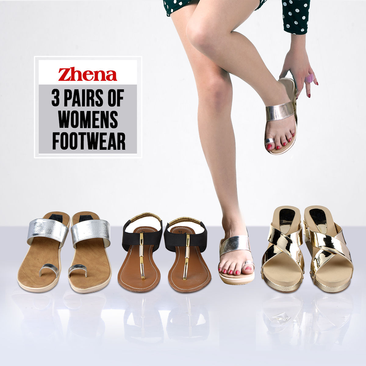 7baa844ba3316a Buy Zhena 3 Pairs of Women s Footwear Online at Best Price in India on  Naaptol.com