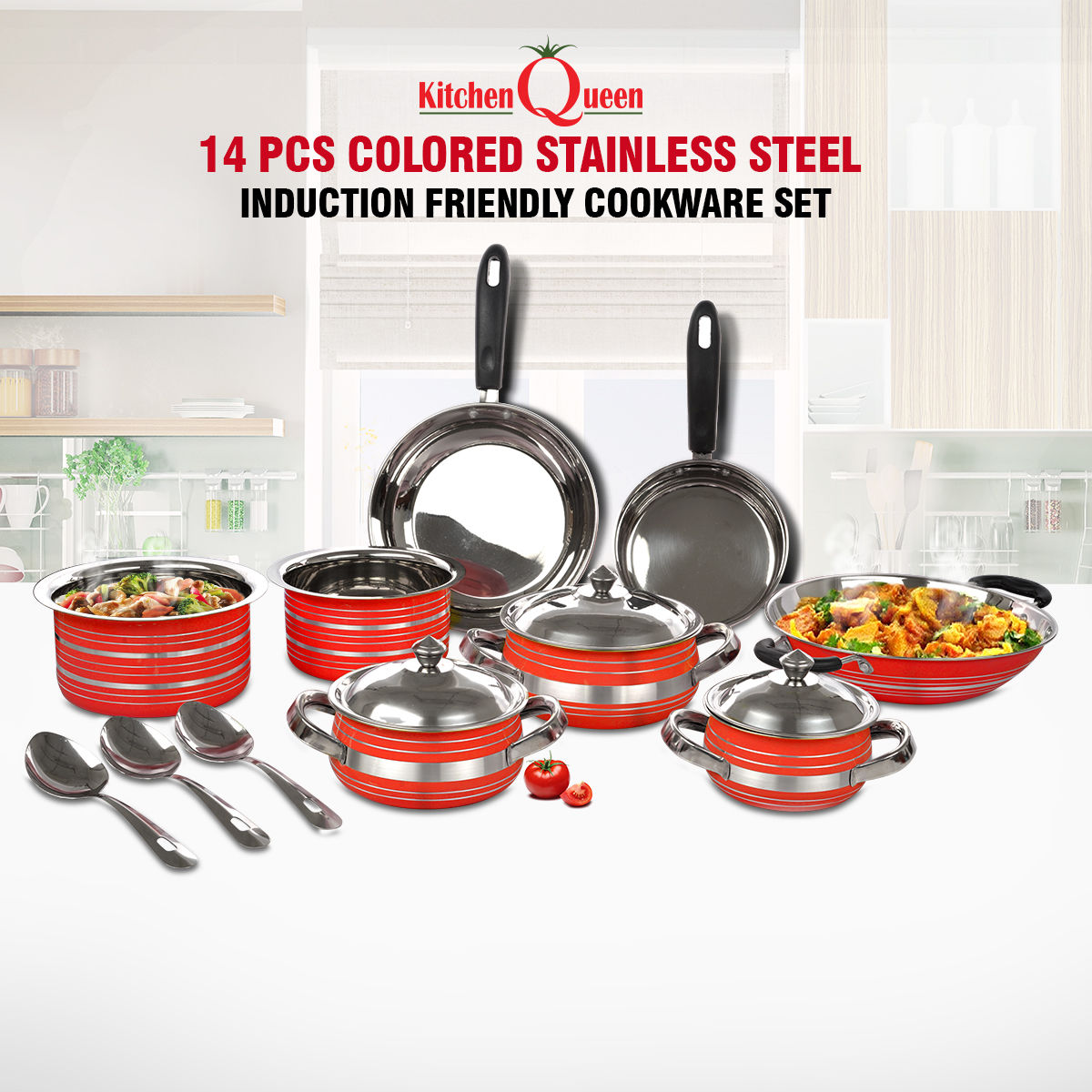 Buy 14 Pcs Colored Stainless Steel Induction Friendly Cookware Set