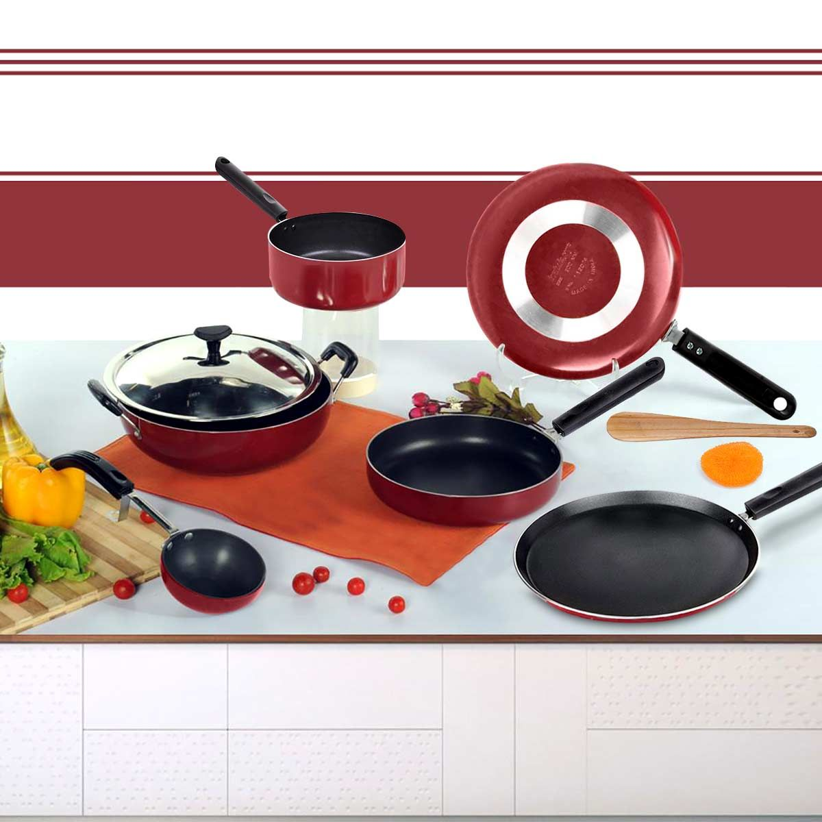 Non Stick Kitchen Set With Price: Buy Brilliant 7pcs Nonstick Cookware Set Online At Best