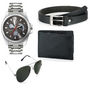 Combo of 1 Rico Sordi Mens Watch_RSD102_WBSGW + 1 Sunglass + 1 Wallet + 1 Belt