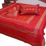 Little India Double Bedcover with 2 Cushion Cover and 2 Pillow Cover - Red