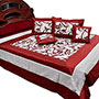 Little India Double Bedcover with 2 Cushion Covers & 2 Pillow Covers - Maroon & White
