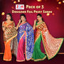 Pack of 3 Designer Foil Print Sarees by Zuri (DES6)