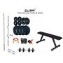 Protoner Weight Lifting Home Gym 52 Kg + Flat Bench + 4 Rods (1 Zig Zag) + Accessories