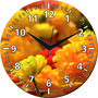 meSleep Yellow Flower Wall Clock With Glass Top-WCGL-01-58