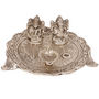 White Metal Lord Laxmi Ganesh With Dia Thali- DLI3HCF317