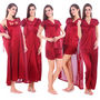 Pack of 5 Fasense Satin Nightwear - Maroon