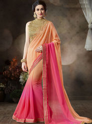 Nanda Silk Mills Stylish Fancy Pure Chiffon & Georgette Saree Pink Color Ethnic Party Wear Saree_Vr-1901