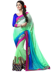 Nanda Silk Mills Light Green Georgette Embroidered Saree with Blouse_Adiction-4602