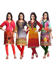 Combo of 4 Adah Fashions Digital Print Crepe Multicolor Kurti- ad02