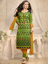 Viva N Diva Emboridered Chanderi Unstitched Green Dress Material -vd041