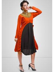 Viva N Diva Printed Georgette Orange Kurti -vd160