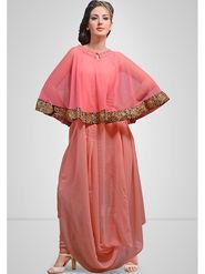Viva N Diva Printed Georgette Peach & Pink Kurti -vd167