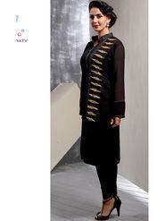 Viva N Diva Printed Georgette Black Kurti -vd168