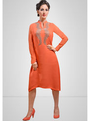 Viva N Diva Printed Georgette Orange Kurti -vd169