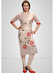 Viva N Diva Printed Georgette Off White Kurti -vd170