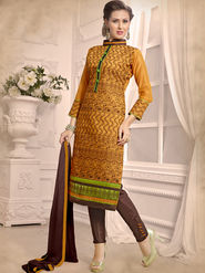 Viva N Diva Emboridered Chanderi Unstitched Yellow Dress Material -vd046