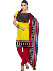 Viva N Diva Printed Butter Crepe Unstitched Yellow Dress Material -vd155