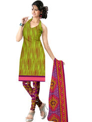 Viva N Diva Printed Butter Crepe Unstitched Green Dress Material -vd156