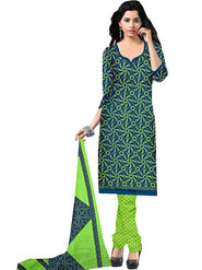 Viva N Diva Printed Butter Crepe Unstitched Navy Blue Dress Material -vd157