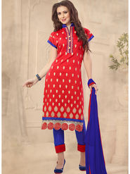 Viva N Diva Emboridered Chanderi Unstitched Red Dress Material -vd051