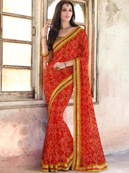 Indian Women Bandhani Georgette Red Designer Saree -Ic11306