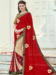 Indian Women Printed Georgette Red & Beige Designer Saree -Ic11331