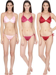 Set of 3 Klamotten Solid Satin Bikini Sets-11L-11M-11W