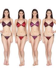 Set of 4 Klamotten Printed Satin Bikini Sets-11M6-7-11P6-7