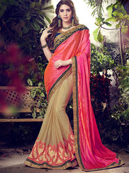 Indian Women Embroidered Paper Silk Multicolor Designer Saree -MG12303