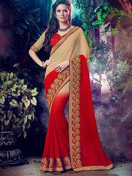 Indian Women Embroidered Georgette Beige & Red Designer Saree -MG12315