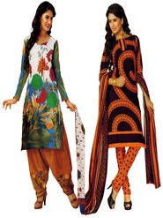 Pack of 2 Priya Fashions Cotton Printed Dress Material - PFS2CD