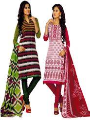 Pack of 2 Priya Fashions Cotton Printed Dress Material - PFS2CF