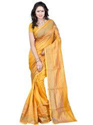 Carah Plain Cotton Silk Saree - Yellow_CRH-N244