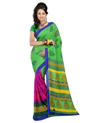 Carah Printed Georgette Saree - Green & Pink_CRH-N260