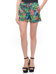 Lavennder Cotton Printed Ladies Short - Black_LW-5143