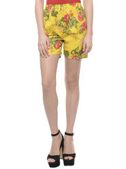 Lavennder Cotton Printed Ladies Short - Yellow_LW-5158