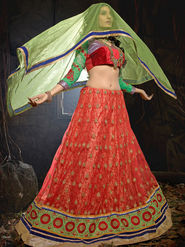 Viva N Diva Soft Net Embroidered Lehenga - Orange_Noor-1001