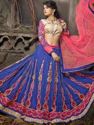 Viva N Diva Soft Net Embroidered Lehenga - Blue_Noor-1003