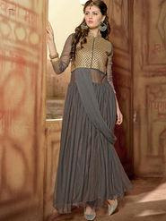 Viva N Diva Net  Embroidered Salwar Suit - Grey_Vedant-1002