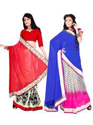 Pack of 2 Zoom Fabrics Embroidered Chiffon Saree_2705-B, 2708-A