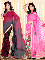 Pack of 2 Zoom Fabrics Embroidered Chiffon Saree_2721-A,2726-A