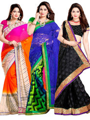 Pack of 3 Zoom Fabrics Embroidered Saree_2908 ,2980 ,2999